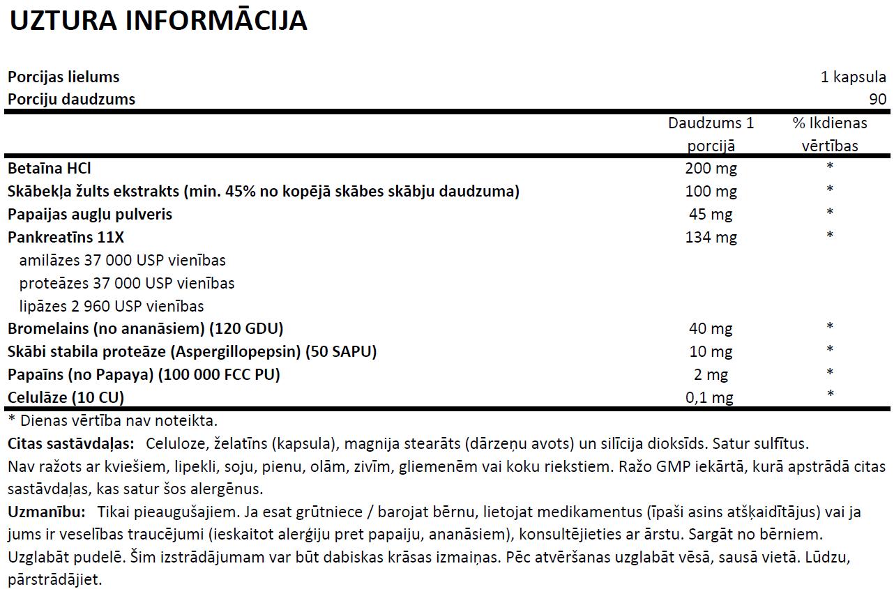 Super Enzymes uztura informācija