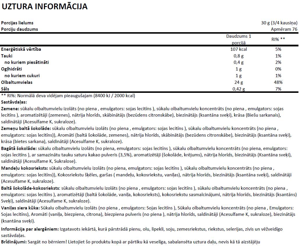 100% Whey Protein Professional uztura informācija