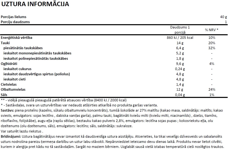 6PAK Proteīna vafeļu uztura informācija