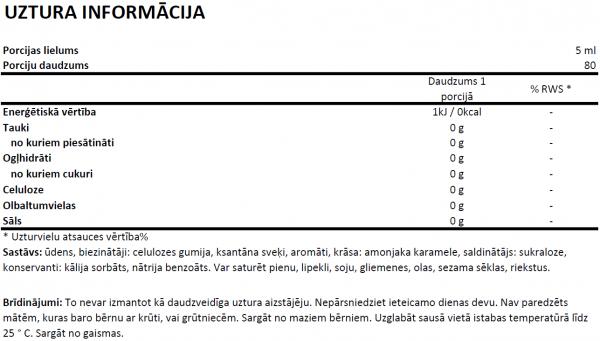 Syrup Zero Vanilla uztura informācija