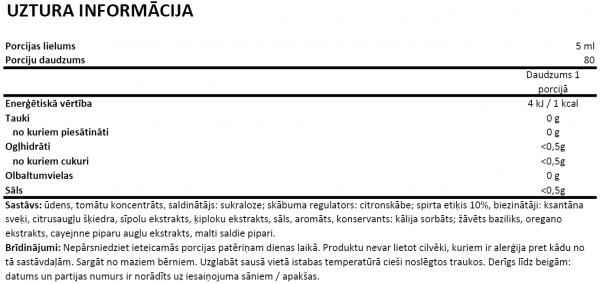 Tomato Basil Sauce uztura informācija