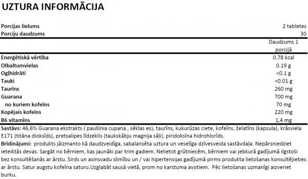 Premium Guarana Push System uztura informācija