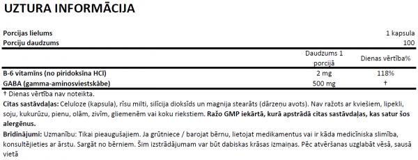 GABA 500mg uztura informācija