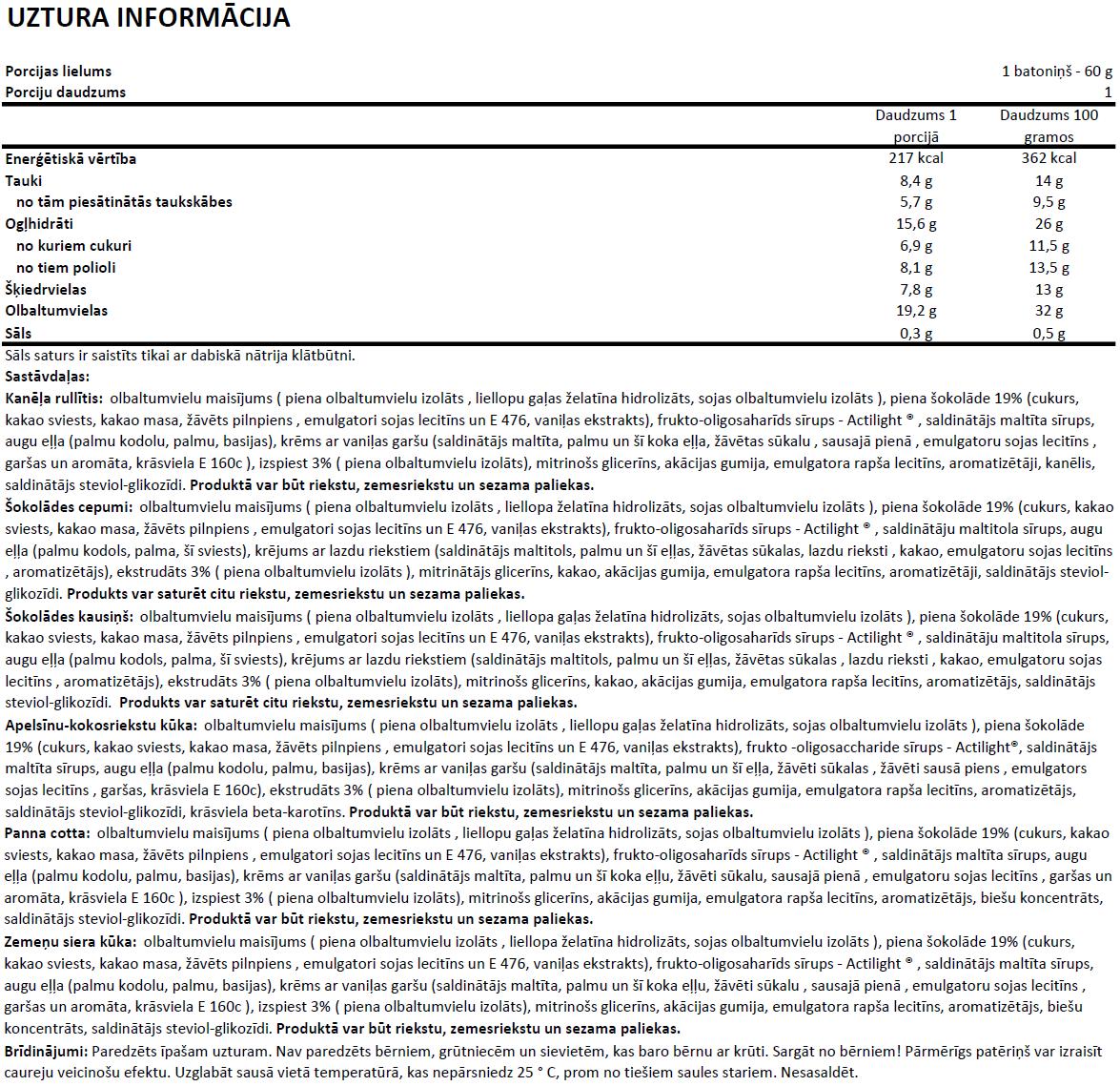 Deluxe Protein Bar uztura informācija