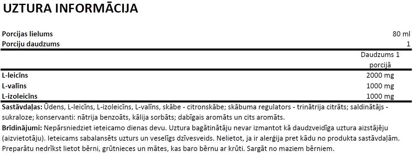 OstroVit BCAA Shot uztura informācija