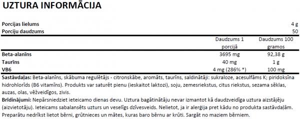 OstroVit Beta Alanine uztura informācija