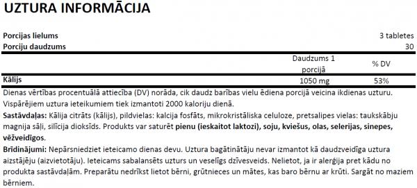 OstroVit Potassium uztura informācija