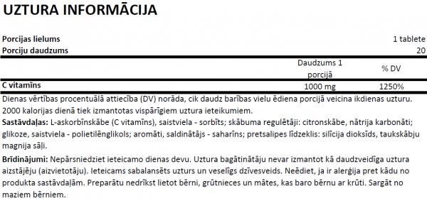 OstroVitVitamīns C 1000 uztura informācija