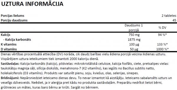 OstroVit Vitamin D3 + K2 + Calcium uztura informācija