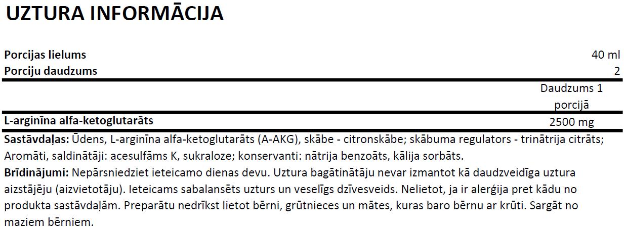 Ostrovit A-AKG Shot uztura informācija