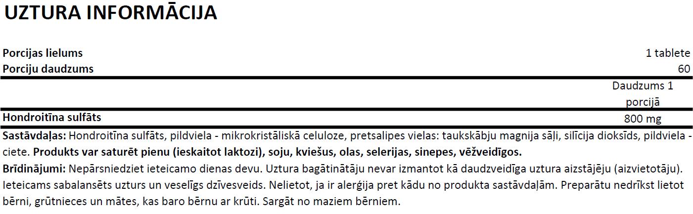 Ostrovit Chondroitin uztura informācija