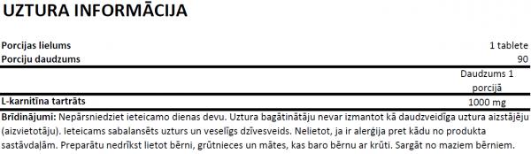 Ostrovit L-Carnitine 1000 uztura informācija