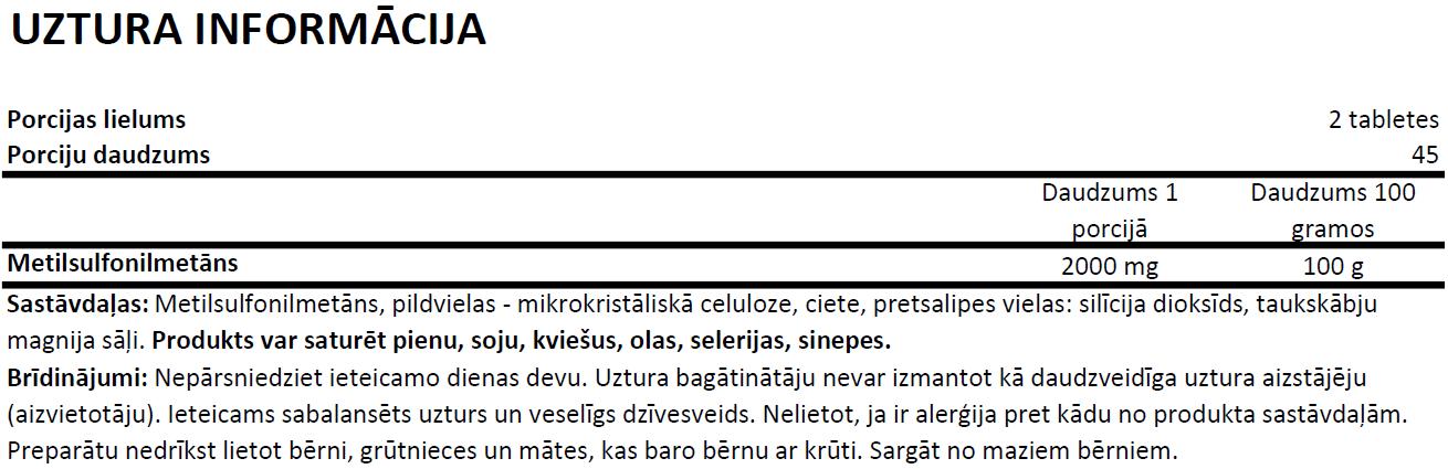 Ostrovit MSM uztura informācija