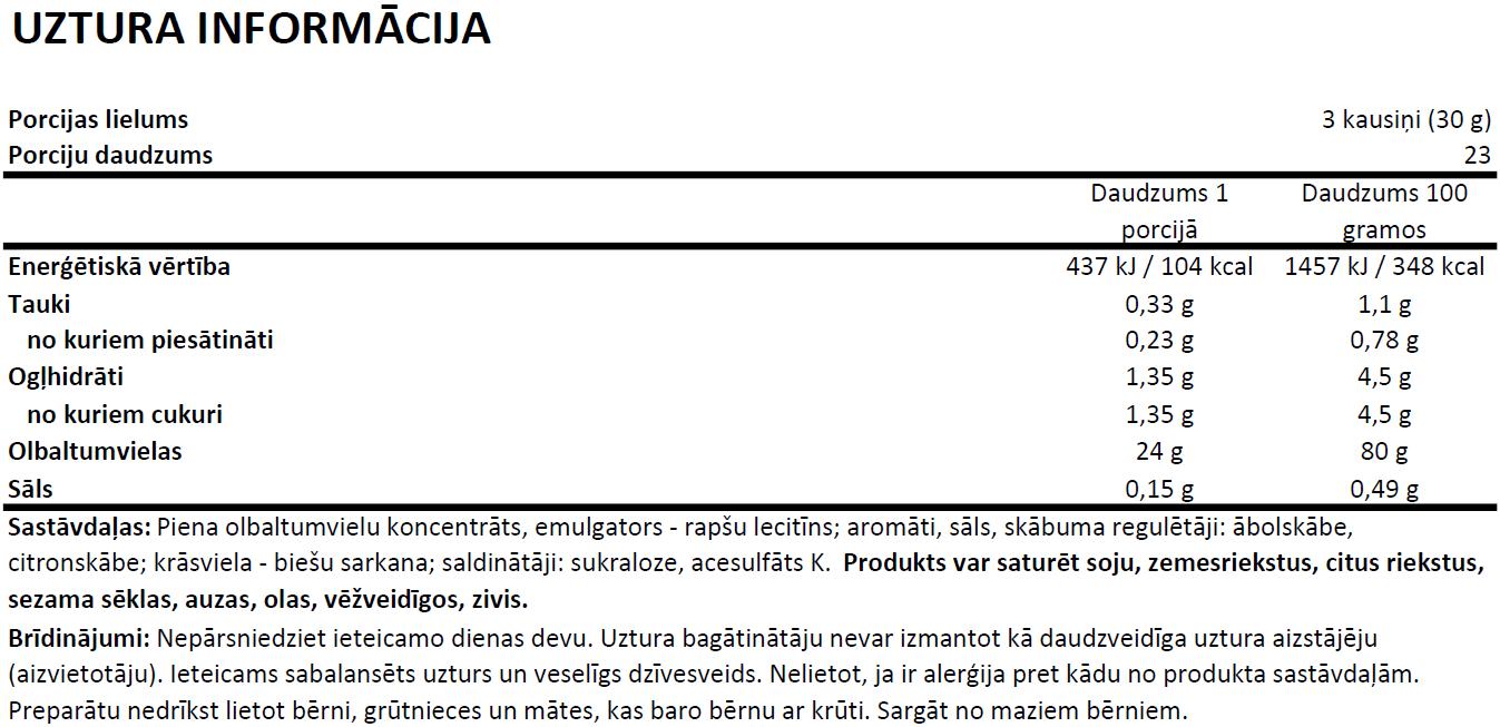 Ostrovit Micellar Casein uztura informācija