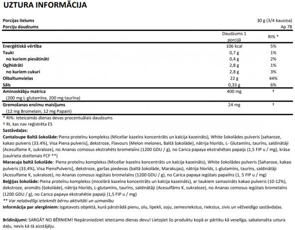 100% Casein Complex uztura informācija