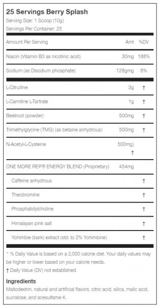 BPI One More Rep uztura informācija