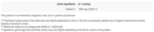 Activlab Vitamin C 1000 mg uztura informācija