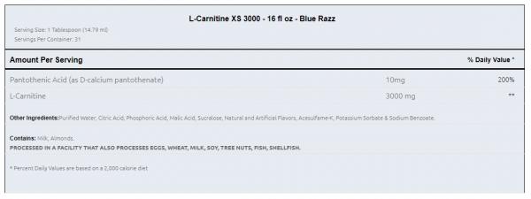 Ronnie Coleman L-Carnitine XS 3000 uztura informācija