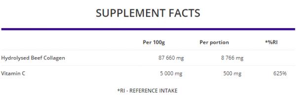 OstroVit Collagen + Vitamin C uztura informācija