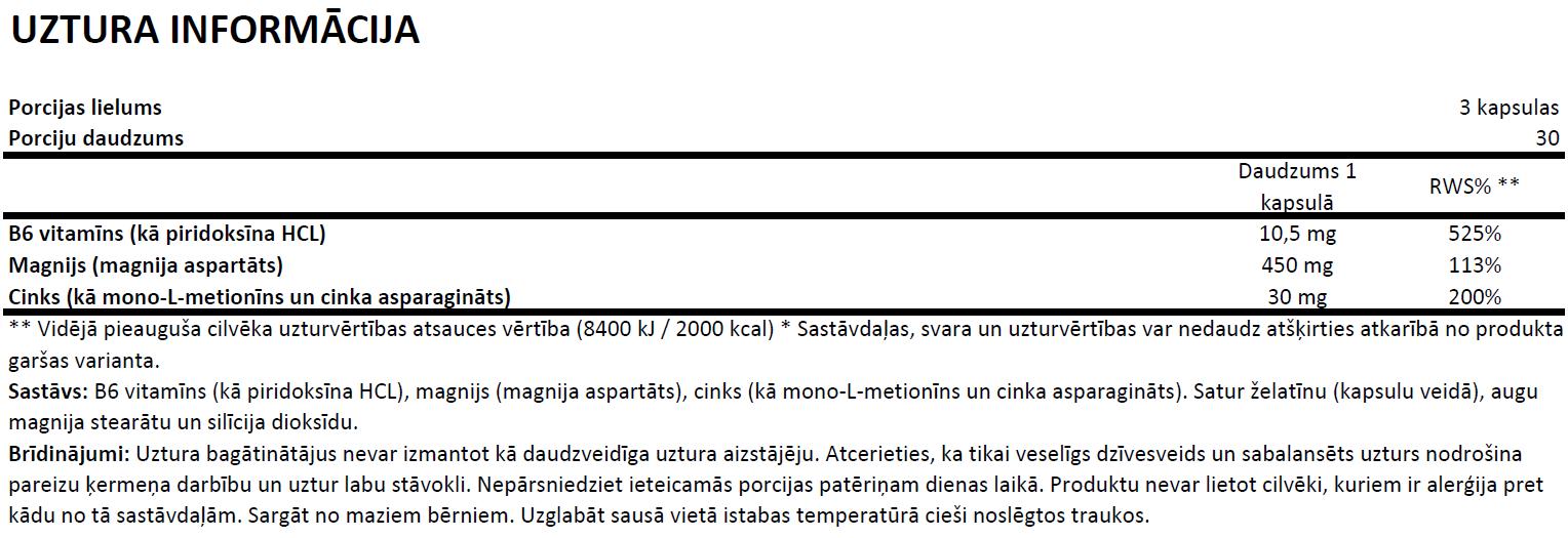 Gaspari ZM Complex uztura informācija