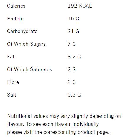 M&M Protein Bar uztura informācija