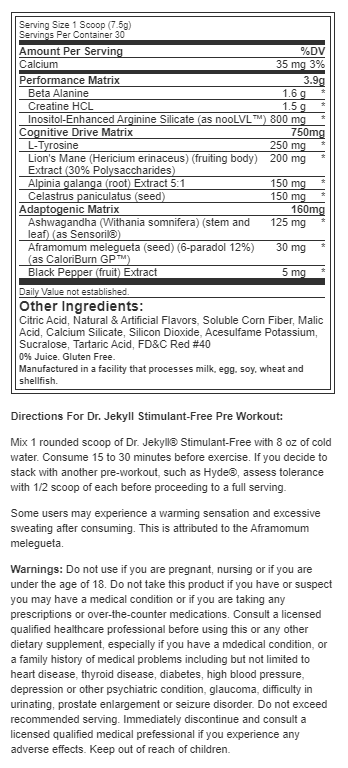 ProSupps Dr. Jekyll Stim-Free uztura informācija
