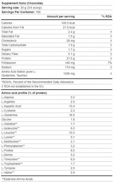 Scitec 100% Whey Protein uztura informācija