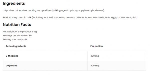 OstroVit Theanine + Tyrosine VEGE uztura informācija