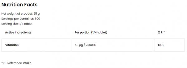 Ostrovit Vitamin D3 8000 IU uztura informācija