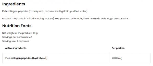 OstroVit Marine Collagen 1020 mg uztura informācija