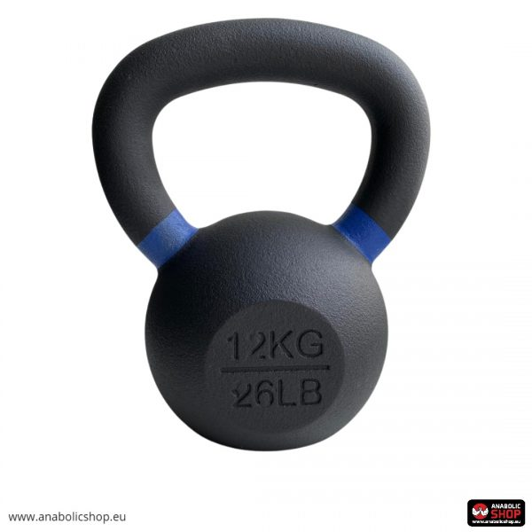 Gravity Black Cast Kettlebell with color ring on the handle Svaru bumba 12 kg