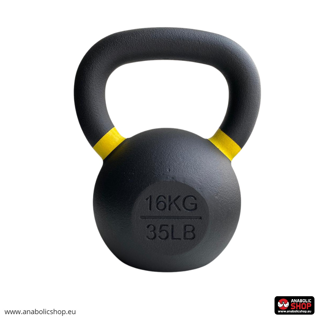 Gravity Black Cast Kettlebell with color ring on the handle Svaru bumba 16 kg
