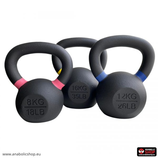Gravity Black Cast Kettlebell with color ring on the handle Svaru bumba 24 kg