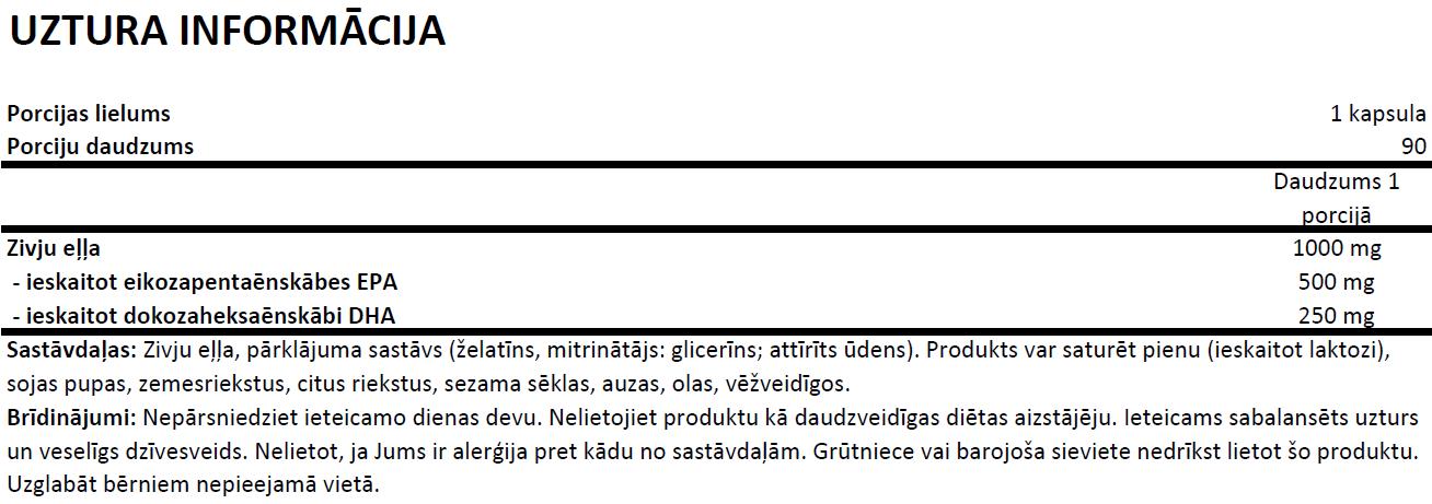 OstroVit Omega 3 Extreme uztura informācija