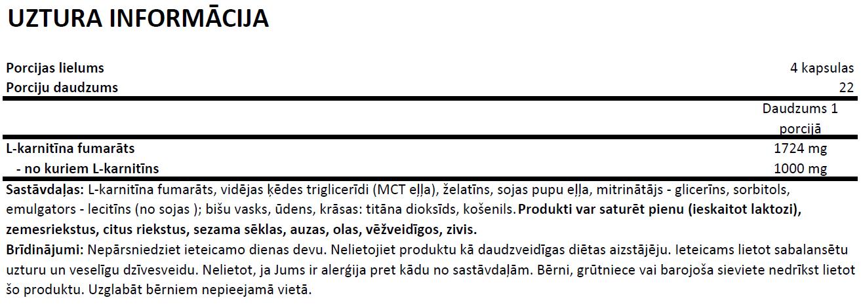Ostrovit L Carnitine 1000 uztura informācija