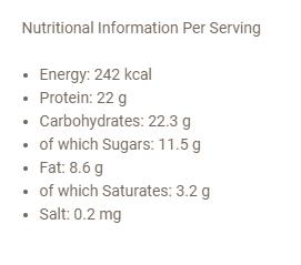 Snickers HIProtein Bar uztura informācija