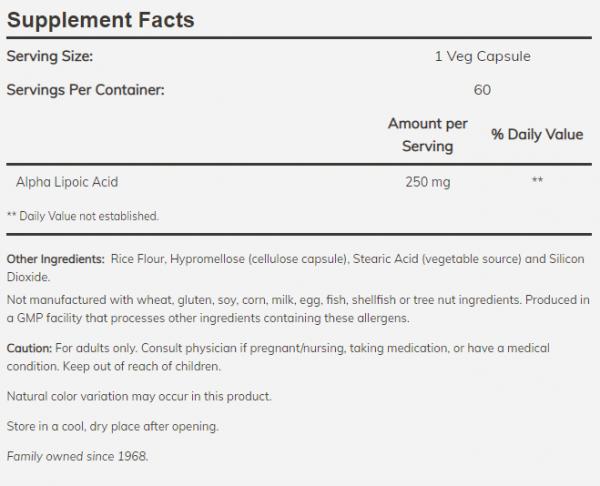 Now Foods Alpha Lipoic Acid uztura informācija