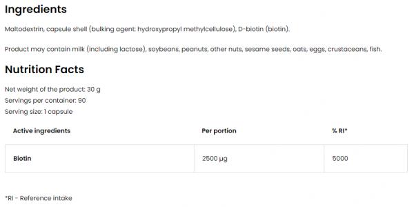 OstroVit Biotin VEGE uztura informācija